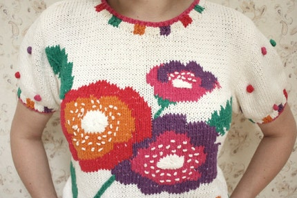 Sweater with Poppy Embroidery, S/M