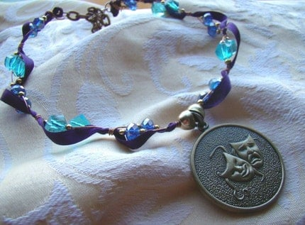A Tragicomical Necklace Purple and blue ribbon and by MissCristal from etsy.com