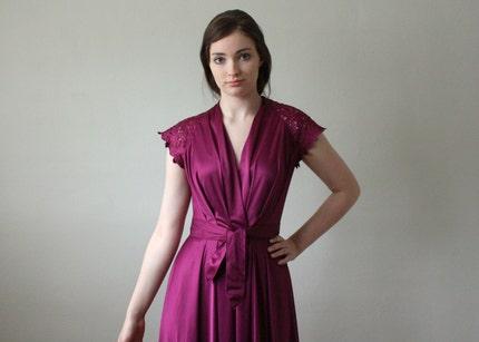 vintage 1970's eggplant wrap dress