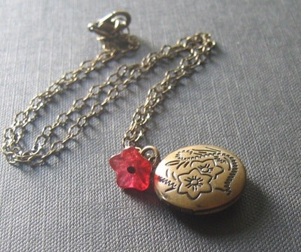 Brass Locket and Burgundy Czech Glass Flower Necklace