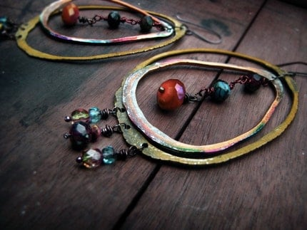 radiant Sun - tribal salvage hoop earrings - recycled metal and Czech glass beads