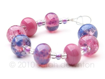 handmade frit beads in hot pinks and lavender