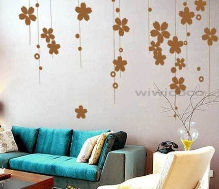 Gorgeous flower vineRemovable Wall Art Home Decors by wiwicoco from etsy