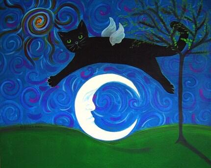 Black Cat Angel jumping over a crescent moon Wimsical Folk Art Magnet