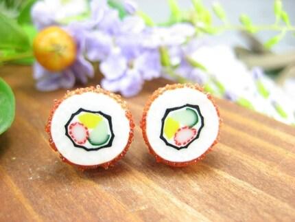 California Maki Sushi Stud Earrings