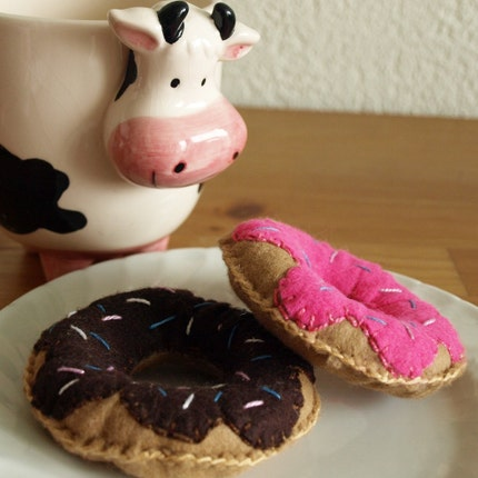 Chocolate Sprinkle Plush Felt Doughnut  Play Food by glamasaurus from etsy.com