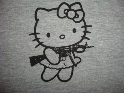 HELLO KILLER KITTY SUBMACHINE GUN SILKSCREEN T-SHIRT . American Apparel 21020 Fine Jersey T . Sizes S-XL
