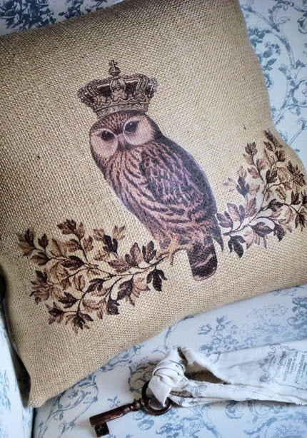 Fall Woodland Owl Burlap Pillow Slip