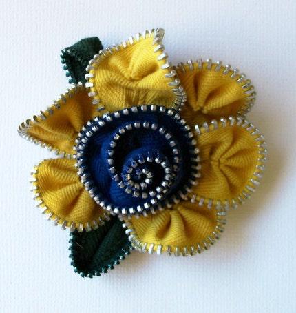 Yellow and blue zip brooch, via Etsy: ZipPinning