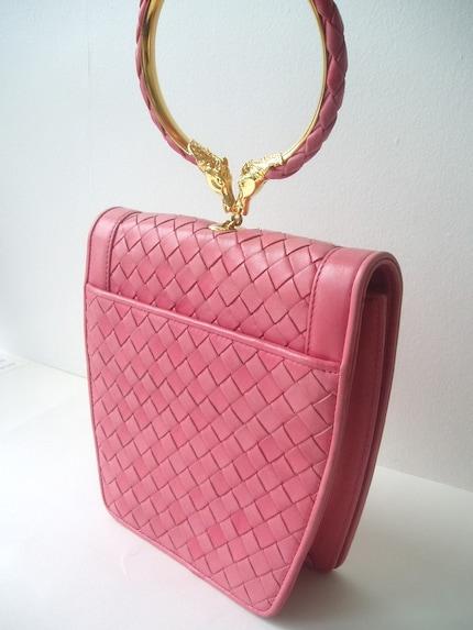 BOTTEGA VENETA Pink bag with horse head handle