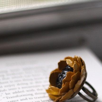 Paper Rose Floral Ring Burnt Gold