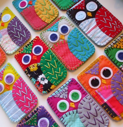 Owl Iphone or Ipod Cozies Eco Felt and Vintage Fabric Made to Order on Etsy