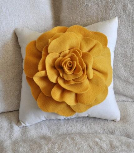 Mustard Yellow Rose on Cream Pillow