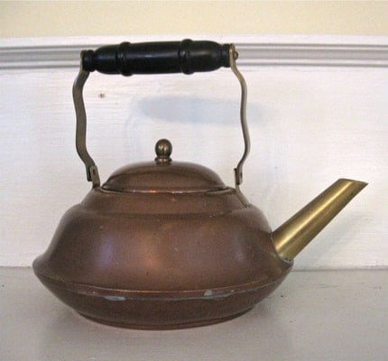 Vintage Copper Teapot - Primitive