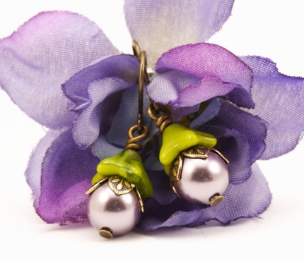 Chartreuse Earrings With Mauve Pearls