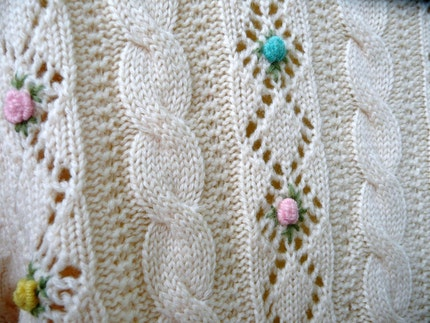 button sweater in cream wool with yellow, turquoise and pink flowers by Barbara Lee Passport Collection