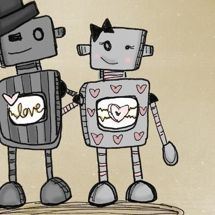 Cute Robot Love Wallpaper The gallery for -->...