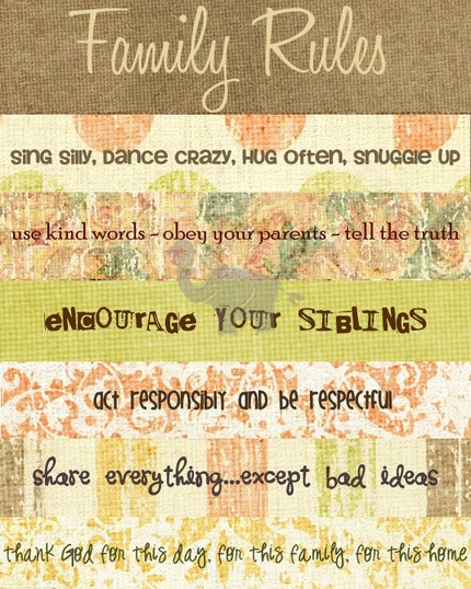 Family Rules Print- Fall Colors