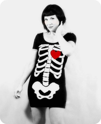 Skeleton Beating HEART Dress  MADE TO ORDER by repurposefulpunk