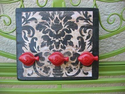 Wall Hooks  with Red Fish Knobs As Hangers