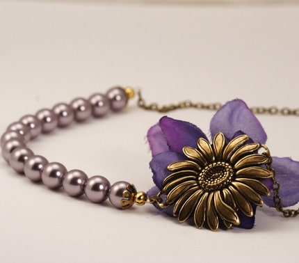 Vintage Style Sunflower Bloom Necklace - Mauve Pearls and Antique Gold