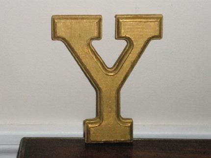 Vintage gold letter Y