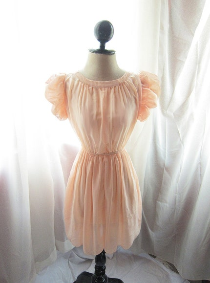 Romantic Pink Peach Marie Antoinette Inspired Whimsical Enchanting Dreamy Chiffon Dress