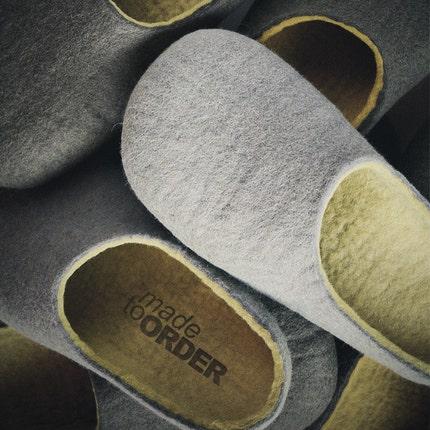 Felted slippers Light Gray/ Green tea/ Chestnuts/ with Lemon / unisex/ HANDMADE TO ORDER