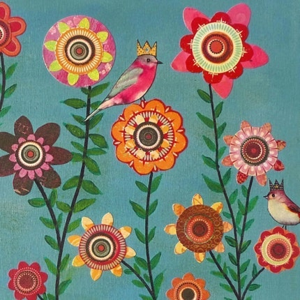 Birds and Flowers Painting Art Print Floral Collage Mounted on Wood - Dreaming of Spring