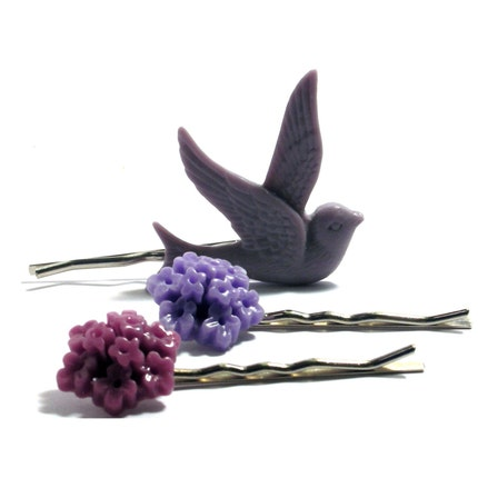 Retro Dove  with Lavender Plum and Lilac Bellflower Trio. Bobby Pins