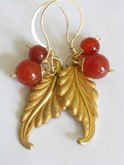 Earrings Carnelian and leaf Miriam Haskell 24K by SeasideStudio from etsy.com