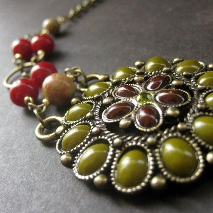 Bronze Floral Choker. Olive, Brick, Inlay. Handmade Artisan Jewelry