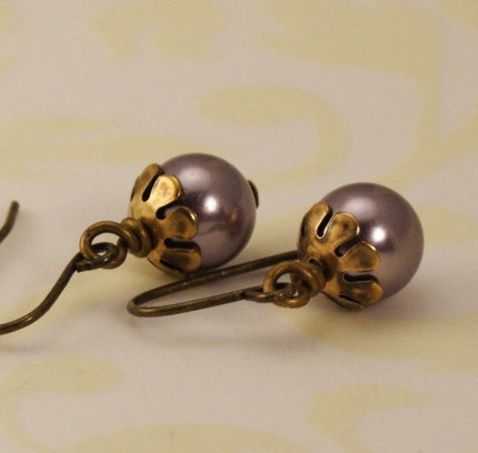 Pearl Earrings - Antique Gold and Mauve - Great Gift