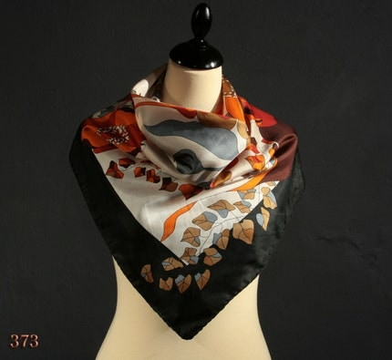 Vintage 70s autumnal pure BLACK SILK floral scarf with ORANGE and BROWN poppy, hand rolled edges