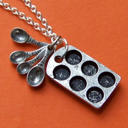 Cupcake Lover Charm Necklace with Antiqued Baking Tin and Measuring Spoons