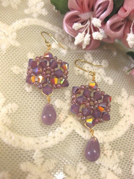 Purple snowflakes. Earrings. Festive. Classy. Elegant.