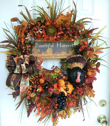 2X THANKSGIVING, FALL, FLORAL, CORNUCOPIA WREATH TURKEY ARRANGEMENT