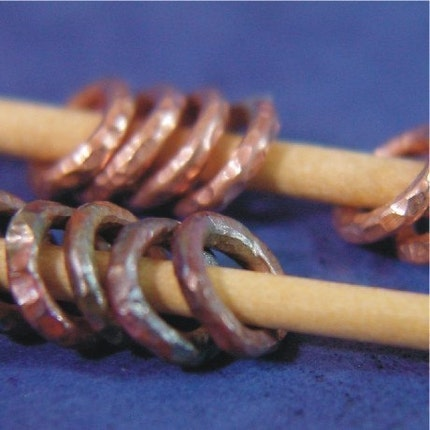 Handmade Copper Ring Stitch Markers - One Dozen - US6 - (4mm)