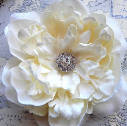 Grace II Ivory Peony Bridal Hair Flower with Diamond Center
