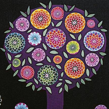 Modern Abstract Purple Tree Painting Art Block Print