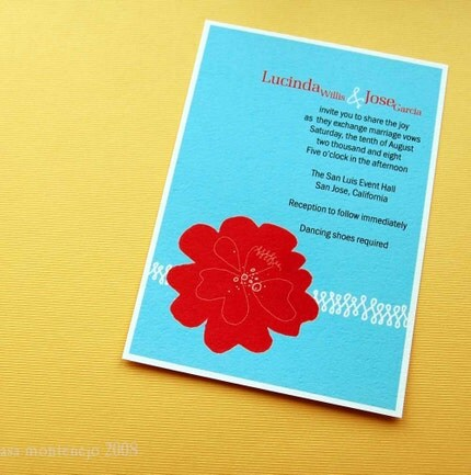 Red Poppy Wedding Invite Sample Set