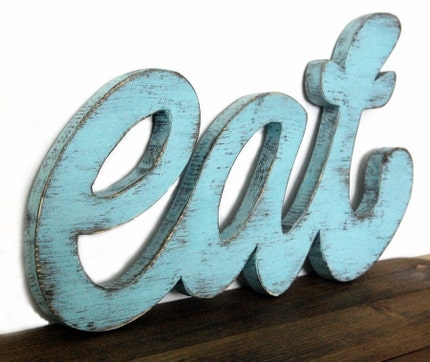kitchen sign wood handmade wall eat Light Turquoise