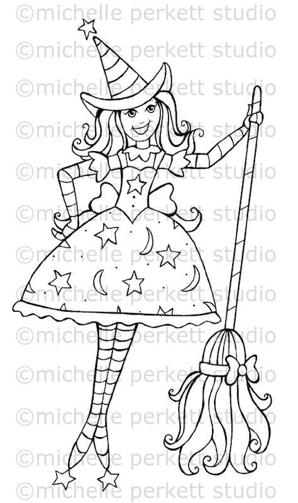 DIGITAL STAMP - CANDY THE SWEET HALLOWEEN WITCH