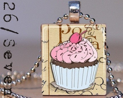 Cupcake Scrabble Tile Pendant with Necklace
