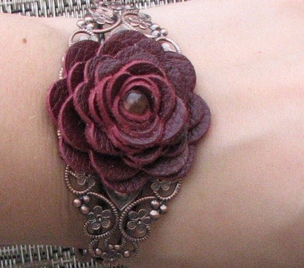 Floral Cuff Bracelet, Wine Leather Rose/Filigree Detailing