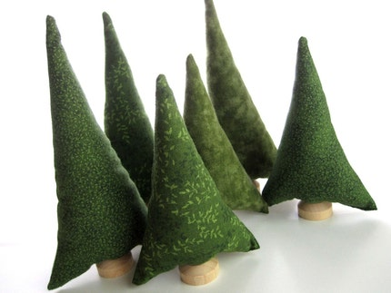 Evergreen Trees - tiny forest of 6 natural green spruce or pine fabric trees