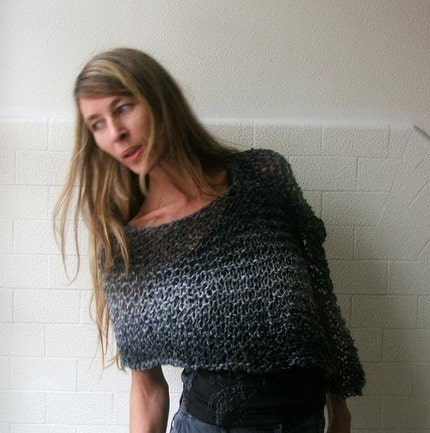 Black and Grey Cobble peru poncho LAST ONE