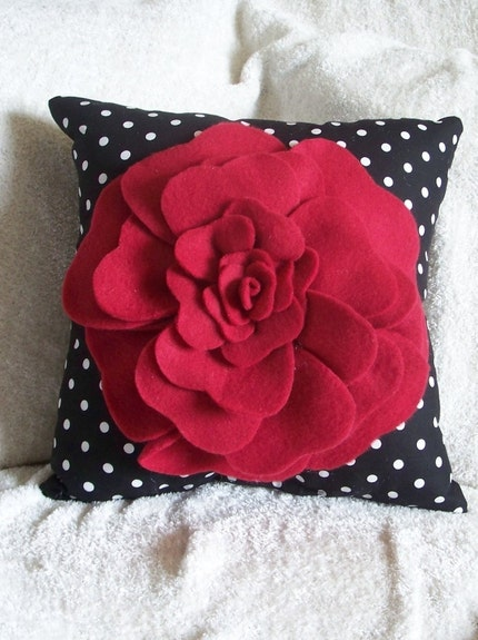 Red Rose on Black with White Polka Dot Pillow