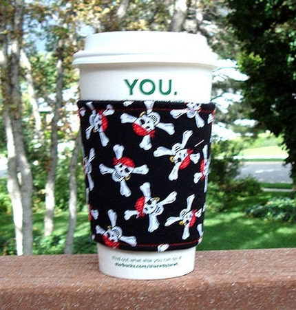 Coffee Cozy Skull and Crossbones Red Bandanas