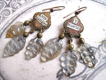 I am Blood and Bone. Victorian and Tribal Glass Leaf Dangles.